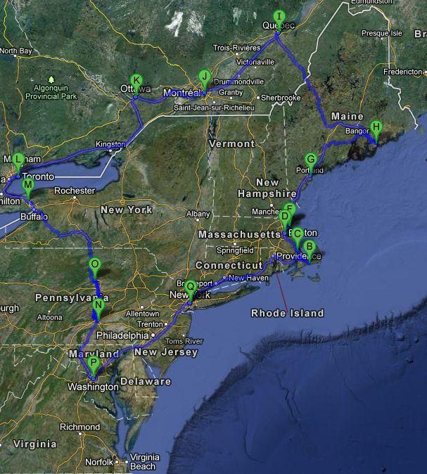 Route USA / Canada East Coast 2008